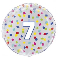 "Age 7 - Silver and Multi-Coloured Confetti 18"" Foil Balloon"