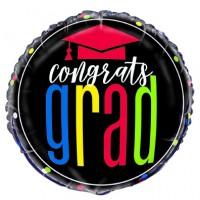 "Black Congrats Grad 18"" Foil Balloon"