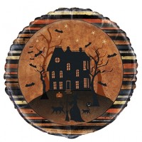 "Spooky House and Bats Halloween Themed 18"" Foil Balloon"
