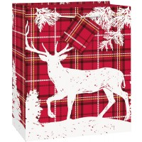 Tartan And Reindeer Theme Gift Bag