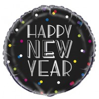 "Black and Silver Happy New Year Colourful Dots 18"" Foil Balloon"