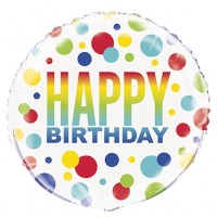 "Happy Birthday Colourful Small and Big Dots 18"" Foil Balloon"