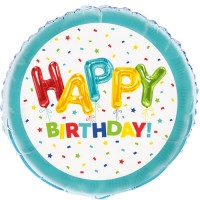 "Happy Birthday Confetti and Stars 18"" Foil Balloon"
