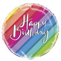 "Colourful Stripe Happy Birthday 18"" Foil Balloon"