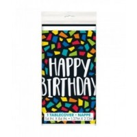 "Colourful Mosaic Birthday Plastic Tablecover 54"" X 84"""