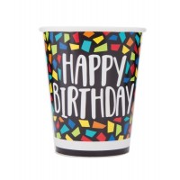 Colourful Mosaic Birthday 9oz Cups 8ct