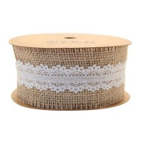 Jute with White Lace Ribbon (35mm x 5yds)