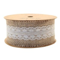 Jute with Cream Lace Ribbon (50mm x 5yds)