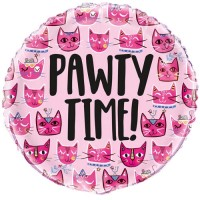 """Pink Cat Themed """"Pawty Time"""" 18"""" Foil Balloon"""