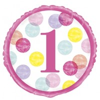 "Age 1 - Pink Dots 18"" Foil Balloon"