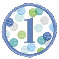 "Age 1 - Blue Dots 18"" Foil Balloon"