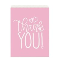 Pink Hearts Paper Goodie Bags 8ct
