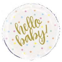 "Hello Baby - White and Gold With Colourful Dots 18"" Foil Balloon"