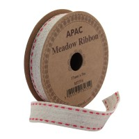 Meadow Ribbon Beige with Red Edge  (17mm x 5m)