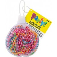 6 Transparent Bead Necklace Net Bag - Assorted Colours - Box of 24