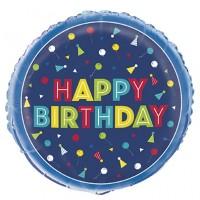 "Happy Birthday Blue Celebrate 18"" Foil Balloon"