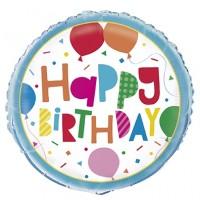 "Happy Birthday Confetti With Balloons 18"" Foil Balloon"