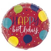 "Colourful Happy BIrthday 18"" Foil Balloon"