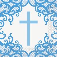 Fancy Blue Cross Lunch Napkins 16ct