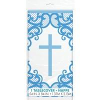 Fancy Blue Cross Plastic Tablecover