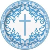 """Fancy Blue Cross 9"""" Plates 8ct"""