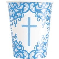 Fancy Blue Cross 9oz Cups 8ct