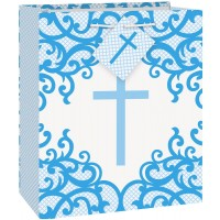 Fancy Blue Cross Medium Gift Bag 12ct