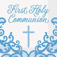 Fancy Blue Cross 1st Communion Napkins 16ct