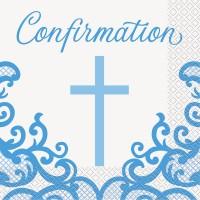 Fancy Blue Cross Confirmation Napkins 16ct