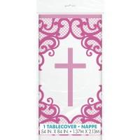 Fancy Pink Cross Plastic Tablecover