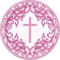 """Fancy Pink Cross 9"""" Plates 8ct"""