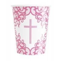 Fancy Pink Cross 9oz Cups 8ct