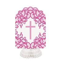 Fancy Pink Cross Honeycomb Decor 3ct