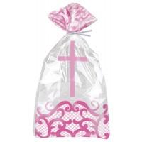Fancy Pink Cross Cello Bags 20ct