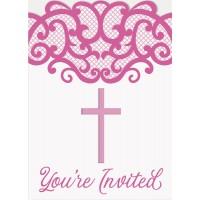 Fancy Pink Cross Invitations 8ct