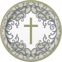 """Fancy Gold Cross 9"""" Plates 8ct"""