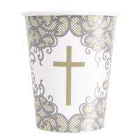 Fancy Gold Cross 9oz Cups 8ct