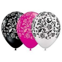"Damask Print Black White and Pink 11"" Round Latex 50ct"