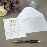 Scripted Marble - Save The Date Cards with Envelopes - 10ct