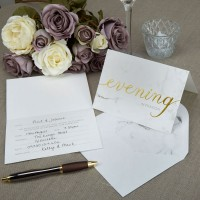 Scripted Marble - Evening Wedding Invitations with Envelopes 10ct