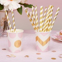 Paper Straws - Stripes - Gold Foil - 25ct