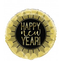 "Black And Gold Happy New Year 18"" Foil Balloon"
