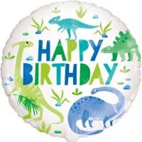 "Happy Birthday Blue/Green Dinosaurs 18"" Foil Balloon"