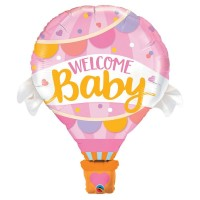 """Welcome Baby Pink Hot Air Balloon Supershape 42"""""""