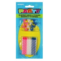 Blue, Pink and White Striped Birthday Candles and Holders Pack of 18