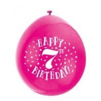 "Happy 7th Birthday 9"" Latex Air Fill Balloon - Assorted Colours, Printed 1 Side - 10ct."
