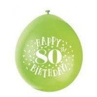 "Happy 80th Birthday 9"" Latex Air Fill Balloon - Assorted Colours, Printed 1 Side - 10ct."