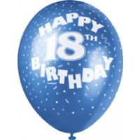 """18th Birthday 12"""" Latex Helium Fill Balloon - Pearlized Assorted Colours, Printed All Around - 5ct"""