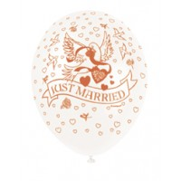 """Just Married 12"""" Latex Helium Fill Balloon - Pearlized Assorted Colours, Printed All Around - 5ct"""