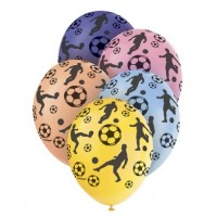 """Football 12"""" Latex Helium Fill Balloon - Pearlized Assorted Colours, Printed All Around - 5ct"""
